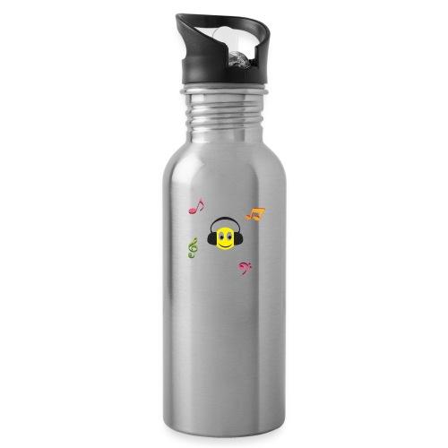 smiley face headphones - Water Bottle