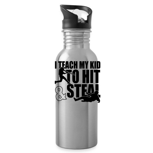 I Teach My Kid to Hit and Steal Baseball - Water Bottle