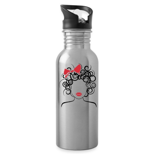 Curly Girl with Red Bow_Global Couture_logo T-Shir - Water Bottle