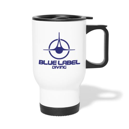 BLD logo with text blue - Travel Mug with Handle