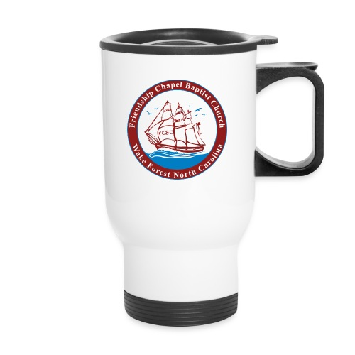 ship art burgundy blue 3 - Travel Mug