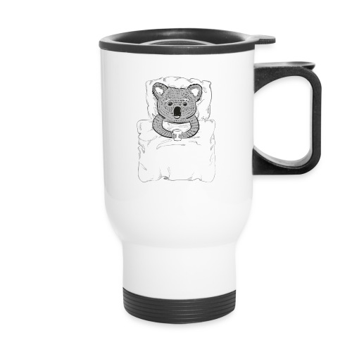Print With Koala Lying In A Bed - Travel Mug