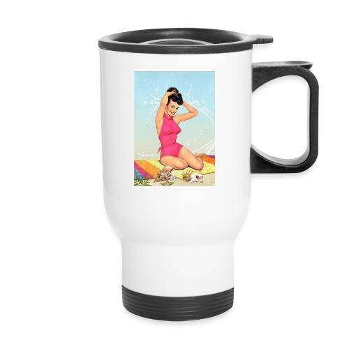 Girl in the sea, retro illustration - Travel Mug