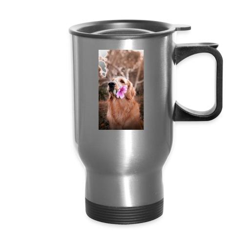 Golden with flower - Travel Mug