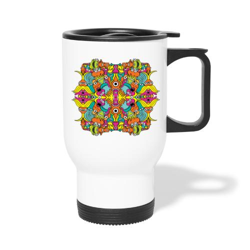 Aquatic monsters in a pattern in doodle art style - Travel Mug