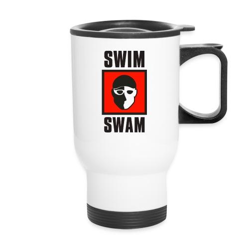 SwimSwam Square on White - Travel Mug