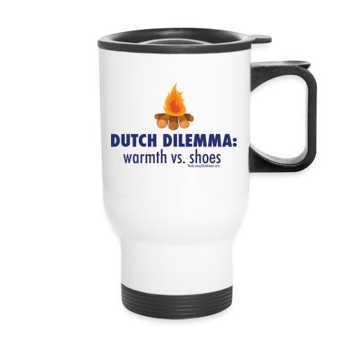 05 Dutch Dilemma blue lettering - Travel Mug