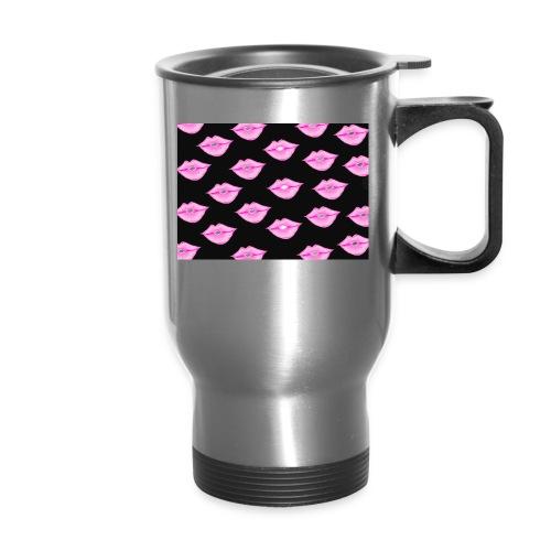Lips with Black Background - Travel Mug