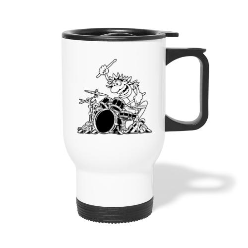 Crazy Drummer Cartoon Illustration - Travel Mug