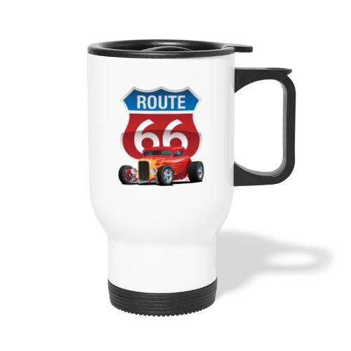 Route 66 Sign with Classic American Red Hotrod - Travel Mug