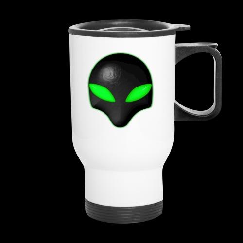 Alien Bug Face Green Eyes - Travel Mug