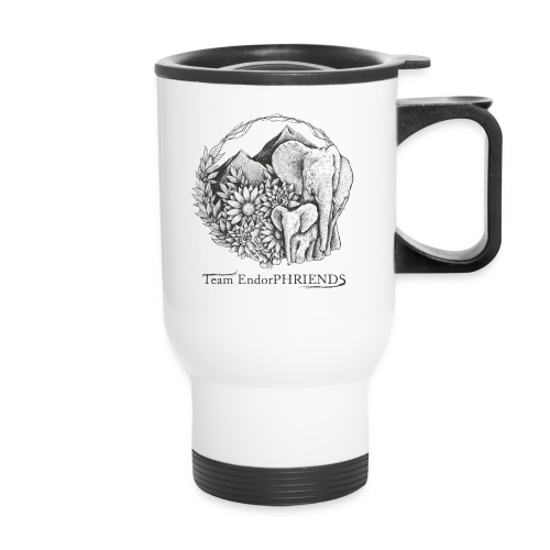 black with white bg3 - Travel Mug