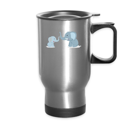 Father and Baby Son Elephant - Travel Mug with Handle