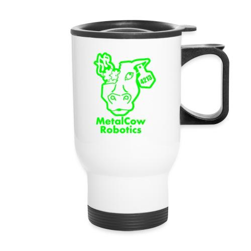 MetalCowLogo GreenOutline - Travel Mug