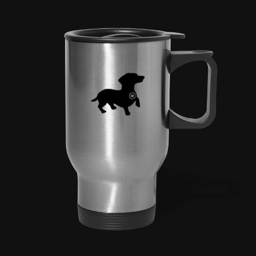 Dachshund love silhouette black - Travel Mug