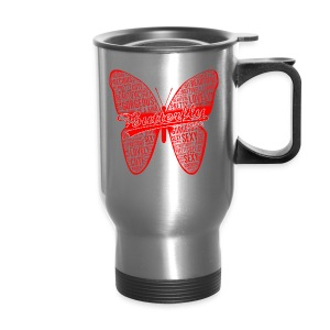 BUTTERFLY WORD RED - Travel Mug