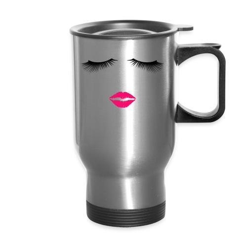Lipstick and Eyelashes - Travel Mug