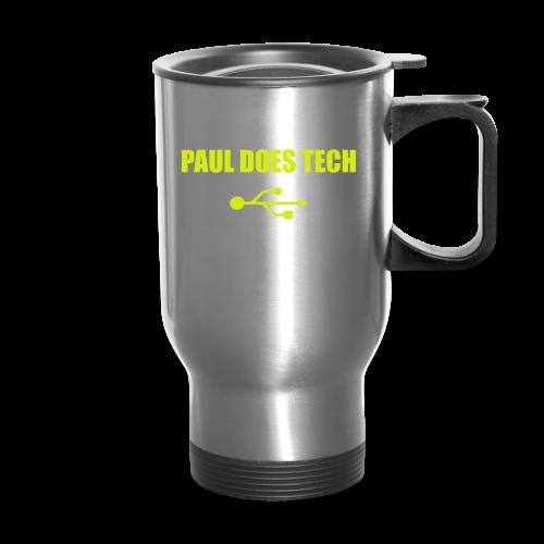Paul Does Tech Yellow Logo With USB (MERCH) - Travel Mug
