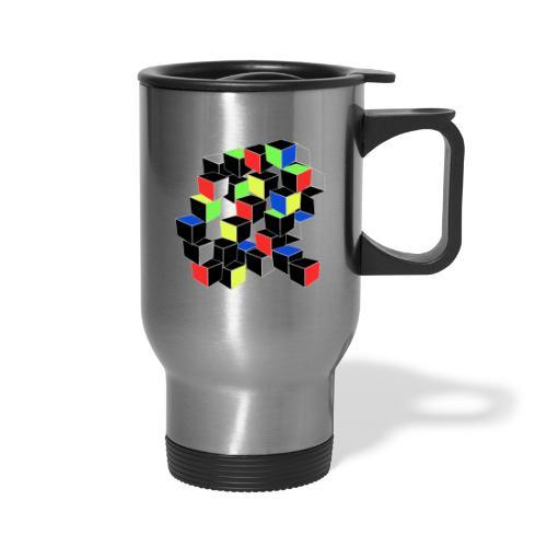 Optical Illusion Shirt - Cubes in 6 colors- Cubist - Travel Mug