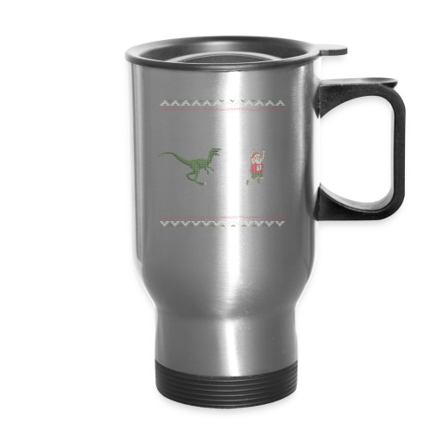 Ugly Christmas Sweater Running Dino and Santa - Travel Mug