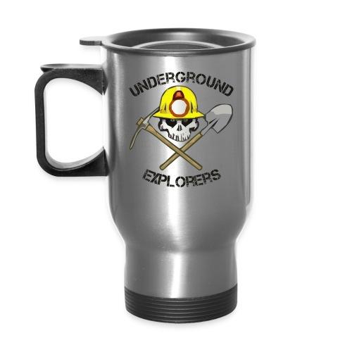 Miner Logo Black Text 08 20 14 png - Travel Mug with Handle