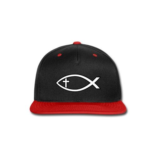 Ichthus with Cross Christian Fish Symbol - Snap-back Baseball Cap