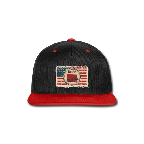 Colorado State Silhouette on Vintage US Flag - Snap-back Baseball Cap