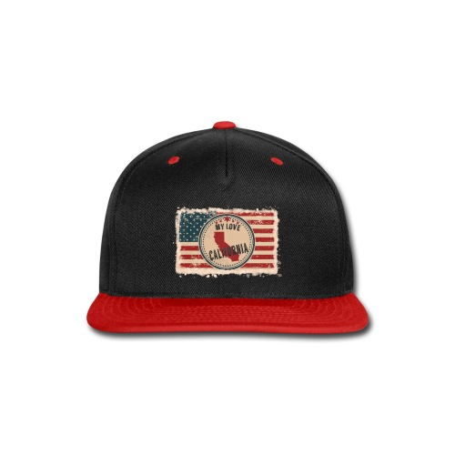 California State Silhouette on Vintage US Flag - Snap-back Baseball Cap