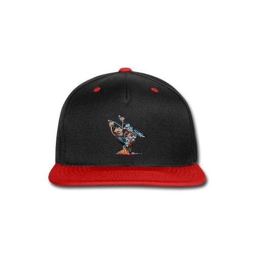 Funny biker riding a chopper cartoon - Snap-back Baseball Cap