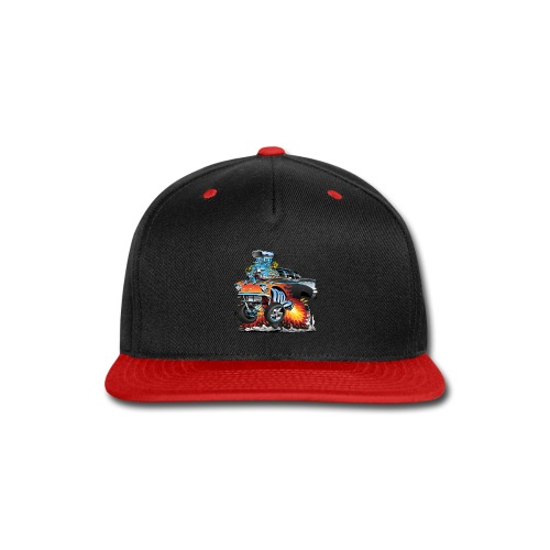 Classic hot rod 57 gasser dragster car cartoon - Snap-back Baseball Cap