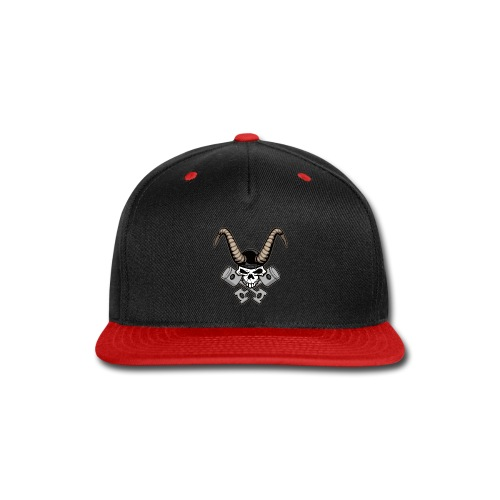 Skull with horns and crossed pistons illustration - Snap-back Baseball Cap