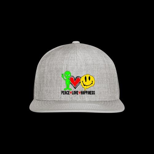 Peace Love Happpiness - Snap-back Baseball Cap