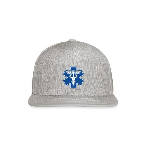 EMT Health Care Caduceus Blue Medical Symbol - Snap-back Baseball Cap