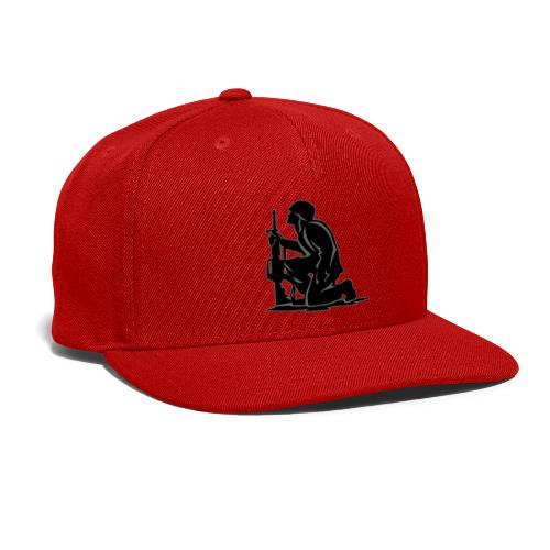 Military Serviceman Kneeling Warrior Tribute Illus - Snap-back Baseball Cap