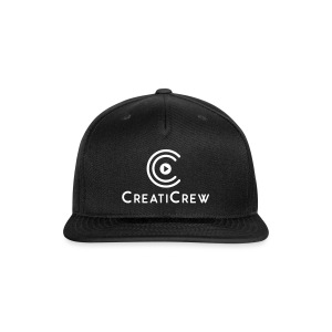 CreatiCrew Logo w/ Text (White) - Snap-back Baseball Cap
