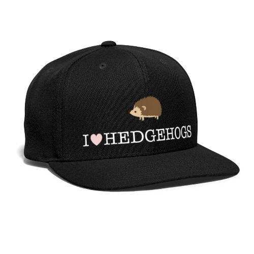 I Love Hedgehogs with Hedgehog Illustration - Snapback Baseball Cap