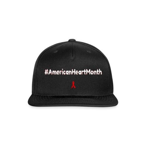 American Heart Month Awaremess Label 1 - Snap-back Baseball Cap