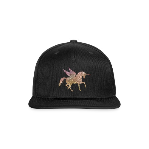 Gold Glitter Pegasus Unicorn - Snap-back Baseball Cap