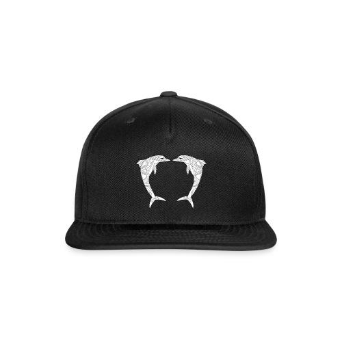White Art Deco dolphins - Snap-back Baseball Cap