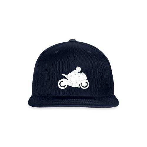 Super Sport Bike Motorcycle Rider Distressed - Snapback Baseball Cap