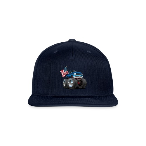 Monster Pickup Truck with USA Flag Cartoon - Snapback Baseball Cap