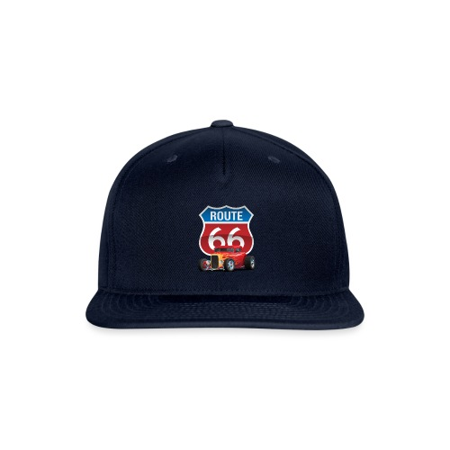 Route 66 Sign with Classic American Red Hotrod - Snapback Baseball Cap
