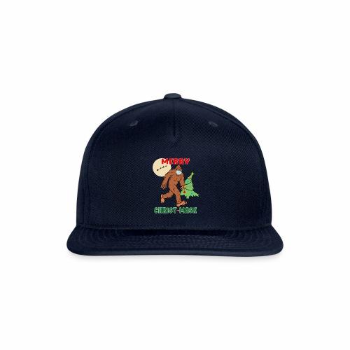 Merry Christmask Sasquatch Mask Social Distance. - Snap-back Baseball Cap