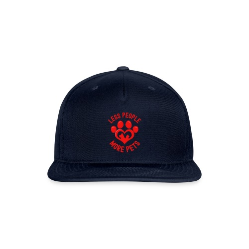 LESS PEOPLE MORE PETS - Heart Shaped Paw Dog Cat - Snapback Baseball Cap