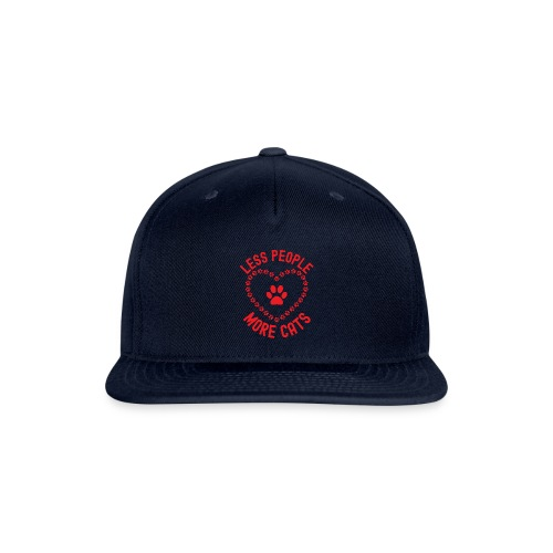 LESS PEOPLE MORE CATS - Paw Print Inside an Heart - Snapback Baseball Cap
