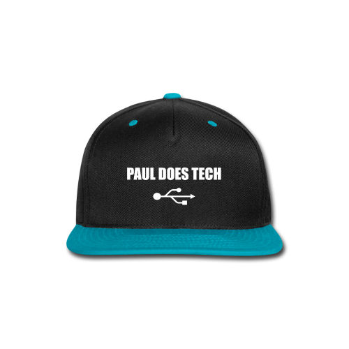 Paul Does Tech White Logo With USB - Snap-back Baseball Cap