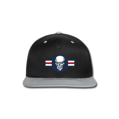Military aircraft roundel emblem with skull - Snap-back Baseball Cap