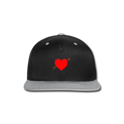 white color arrow shirt crossing a heart - Snap-back Baseball Cap