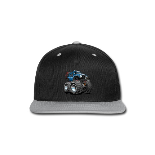 Off road 4x4 blue jeeper cartoon - Snap-back Baseball Cap