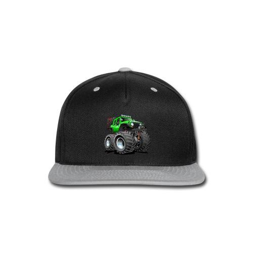 Off road 4x4 gecko green jeeper cartoon - Snap-back Baseball Cap